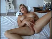 Mature blonde sucking off a fatty