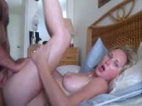 Blonde with small tits getting oiled up and sucking