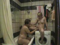 Good looking blonde fucked hard in a tub