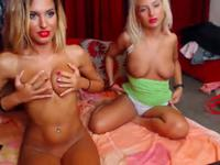 Two blonde friends with heavy make up tease