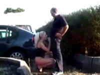 Shamless amateur couple doing it in public