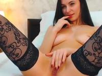 Woman in stockings shows off