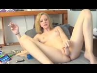 Blonde penetrates her tight cunt