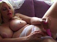 Curvy blonde is alone in the room