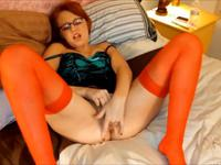 Hot redhead massages her slit