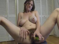 Blonde with big tits jacks off
