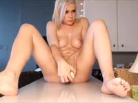 Blonde parades her wet pussy