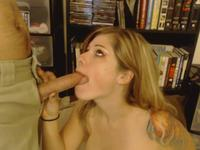 Blonde is on her knees, sucking
