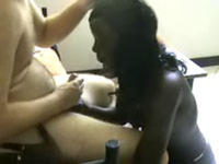 Awesome blowjob of African beauty
