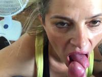 A blonde slut is doing a blow job