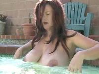 Busty mom at pool