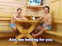 Crazy threesome in sauna