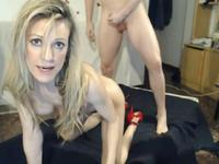 MILF in red heels gets fucked by two men