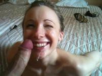 Cute girl gets cum on face and mouth