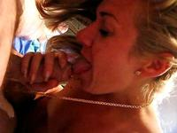POV deepthroat action with a blonde princess