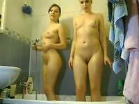 So pretty University females fun in front her webcam and take a bath together