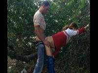 Cheerleader wannabe rammed in the woods
