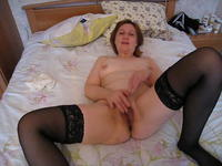 Babe in stockings masturbates