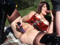 Nasty slutty lady sucking outdoors