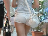Tight white pants are something that makes the pretty amateur bimbo look really great