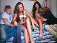 Playful teen swingers