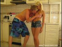 Lustful sex in kitchen