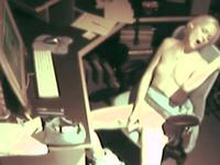 Spy At Desk Masturbating