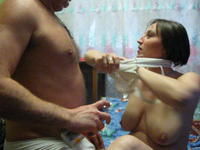 Chubby girl plays with cock and cream