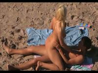Blondie sitting on my face on the beach