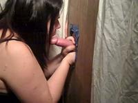 Chubby chick sucks on a gloryhole cock