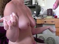 Busty amateur girl strokes that dick like a pro