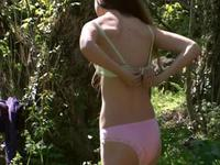 Long haired brunette naked in nature